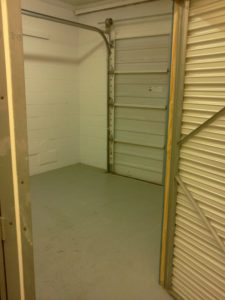 large storage unit with garage door